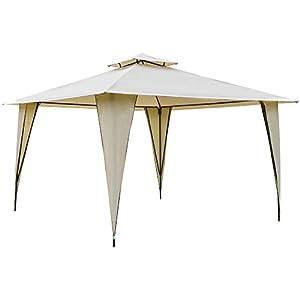 Outsunny Cenador de Jardín 3,5×3,5 m Carpa con Doble Techo y 8 Orificios de Drenaje Marco Metálico para Celebraciones Fiestas Bodas Exteriores Beige