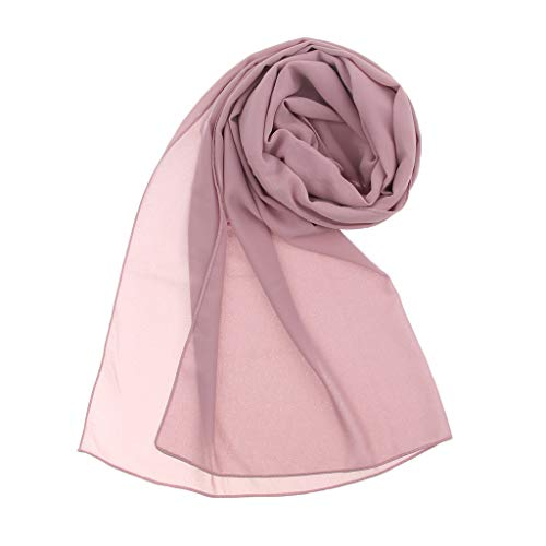 Prettyia Elegant Women Lady Solid Bubble Chiffon Scarf Muslim Hijabs Head Scarf Shawls Turban Hat Headscarf - Dusty pink, as described