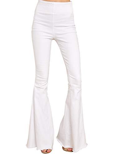 Sidefeel Women Flare High Waist Tassel Denim Jeans Skinny Bell Bottom Pants Large White