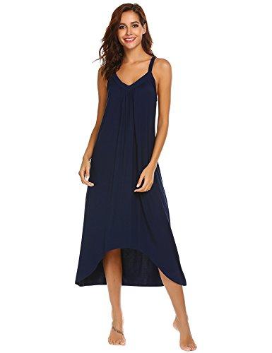(Ekouaer Womens Sleeveless Long Nightgown Summer Slip Night Dress Cotton Sleepshirt Chemise, A-navy Blue_6696, Large)