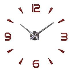 New Wall Clock Quartz Living Room DIY Clocks Modern Design Watch Acrylic Mirror 3D Stickers,Red,37Inch