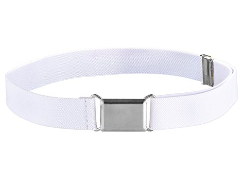 Toddler Adjustable Elastic Belts (Kids Elastic Adjustable Strech Belt With Silver Square Buckle - White)