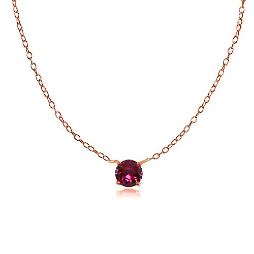 Rose Gold Flashed Sterling Silver Small Dainty Round Created Ruby Choker Necklace ()