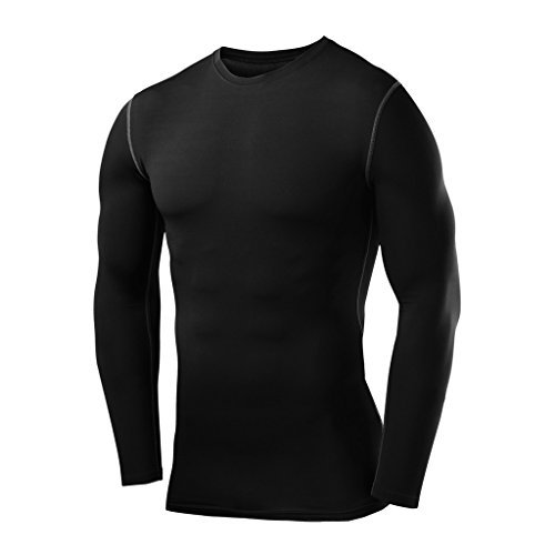 PowerLayer Men's Boys Compression Shirt Long Sleeve Base Layer Thermal Top - Black X Large Boy (12-14 Years)