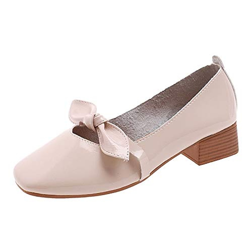 Pump Heels Black Heel Chunky Beige Beige Round Polyurethane Women's ZHZNVX Fall PU Red Toe Basic Shoes wFwHxAYq