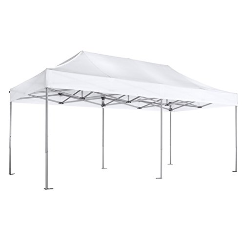 Eurmax PRO 10x20 Pop up White Tent Instant Canopy Shelter with Roller Bag, White