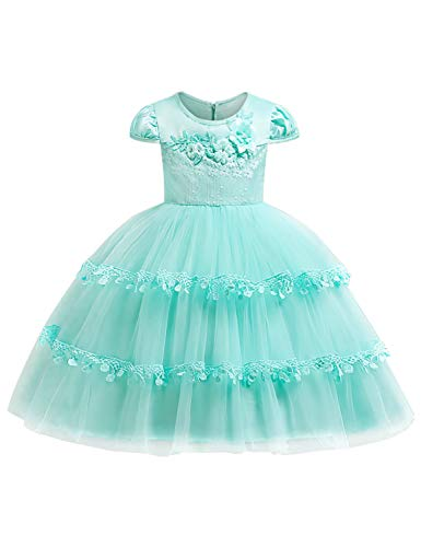JOYMOM Pageant Dresses for Girls, Kids 3D Flower Tiered Back Zip Puffy Mesh Long Gown Belle on The Ball Artistic Photo Shoot Family Gathering Graduation Party Outfits Turquoise Size(140) 7-8 Years -