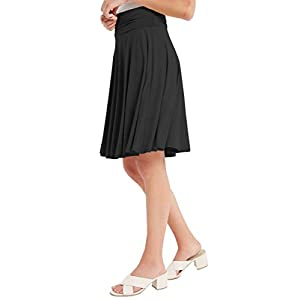 12 Ami Solid Basic Fold-Over Stretch Midi Short Skirt – Made in USA