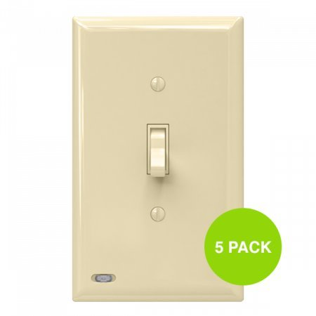 5 Pack SnapPower SwitchLight - Light Switch Cover Plate With Built-In LED Night Light - Add Ambience Lighting To Your Home In Seconds - (Toggle, Ivory)