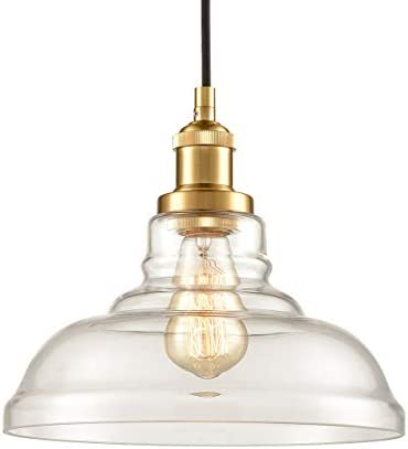 Brass Clear Glass Pendant Lights Barn Shape Hanging Pendant Lighting