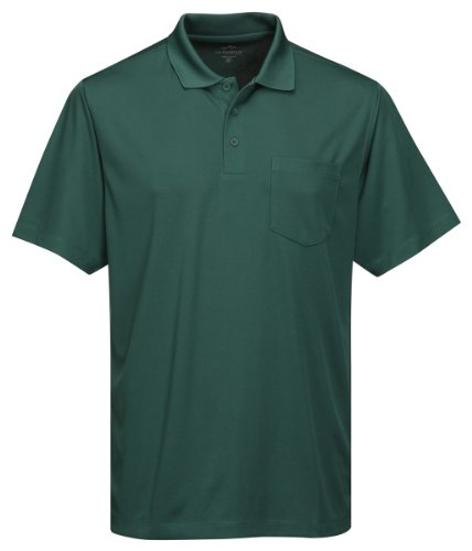 Tri-Mountain Men's 5 oz Moisture Wicking Polyester Shirt w/Pocket Forest Green X-Large Tall