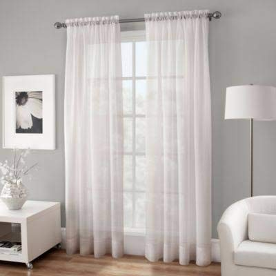 Crushed Voile - Crushed Voile Sheer 95-Inch Rod Pocket Window Curtain Panel in White