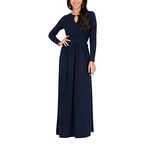 color Maniche Donna Abito Size Gray Con Ovesuxle Lunghe Lungo Blue Da A Xxl S8qHqf4w