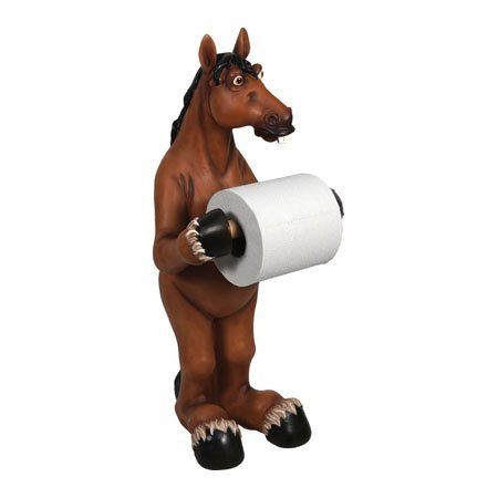 River's Edge Products Toilet Paper Holder Bathroom, Decorative Horse Free Standing Toilet Paper Holder