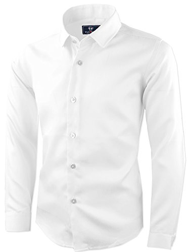 Black n Bianco Signature Boyss Sateen Long Sleeve Dress Shirt (8, White) -