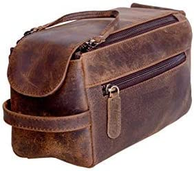 Skyland Handmade Buffalo Genuine Leather Toiletry Bag Dopp Kit Shaving And Grooming Kit For Travel - Gift For Men Women - Hanging Zippered Makeup Bathroom Cosmetic Pouch (Brown)