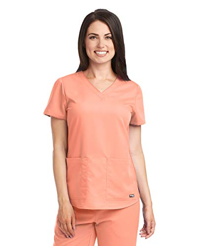 Grey's Anatomy Women's Two Pocket V-Neck Scrub Top with Shirring Back, New Royal, - New Scrubs Large