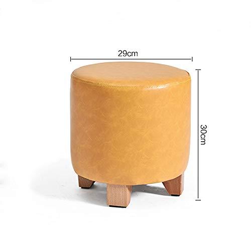 Black L29CMXW29CMXH30CM Solid Wood Stool Leather Round High Elastic Sponge Home Living Room Sofa Stool V (color   Dark Red, Size   L29CMXW29CMXH35CM)