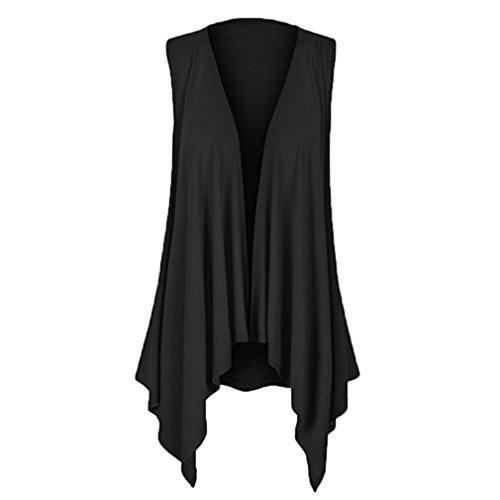 UOFOCO Summer Shirt Womens Blouse Casuasl Solid Top Sleeveless Draped Irregular Hem Open Cardigan