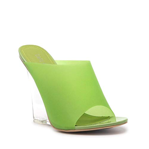 (Women's Sexy Transparent Clear PVC Foot Bed Fruit Candy Wedge Heel Mule (7, Green) )
