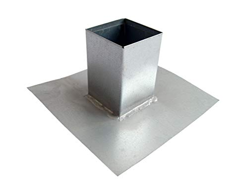 "Pitch Pocket Roof Flashing in Heavy Duty Galvanized Steel - Roof Penetration Flashing - Waterproofing System for Vent Pipe Roof Terminations (4"")"