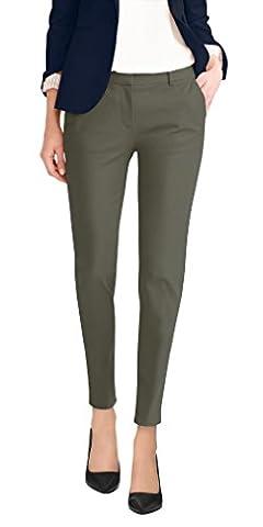 Super Comfy Flat Front Stretch Trousers Pants PW31200TT OLIVE 1 (Petite Office Pants)
