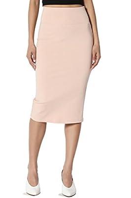 TheMogan 4 Way Stretch Curvy Ponte High Waist Knee Length Midi Pencil Skirt