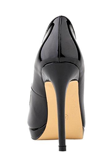 Heel Round High Classic Black Women's Toe PU Slip New Patent Dress On Fashion Pumps aS6C0nq
