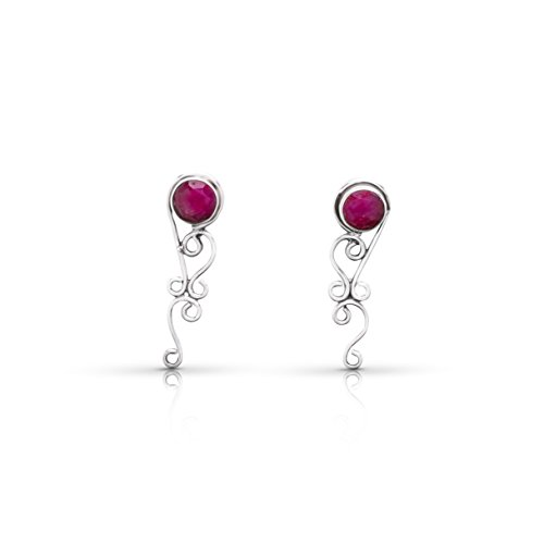 (Created Ruby Cuff Climber Earrings 925 Sterling Silver Boho Chic)