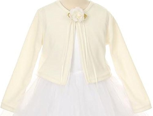 BluNight Collection Little Girls Long Sleeve Flower Girl Cardigan Sweater Bolero (13KD3) Ivory 6