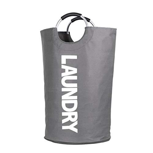 YIKALU Laundry Baskets Foldable Fabric Portable Laundry Hampers Storage Bag with Carry Handles for Dirty Clothes(Grey)