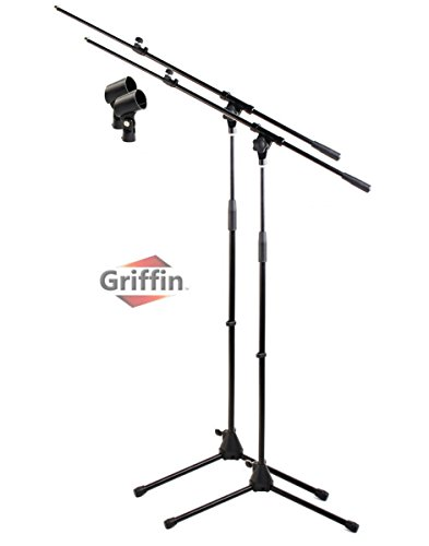 Tripod Microphone Boom Stand with Mic Clip (Pack of 2) by Griffin | Telescoping Premium Quality for Studio, Karaoke, Live Performances, Conferences | Portable with Collapsible Legs & Removable Arm