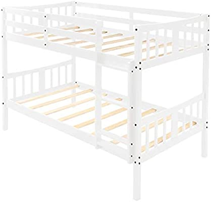 DASEXY Cabecera Bedroome for niños Twin sobre Twin Bunk Bed Cama Doble de Madera con Escalera: Amazon.es: Hogar