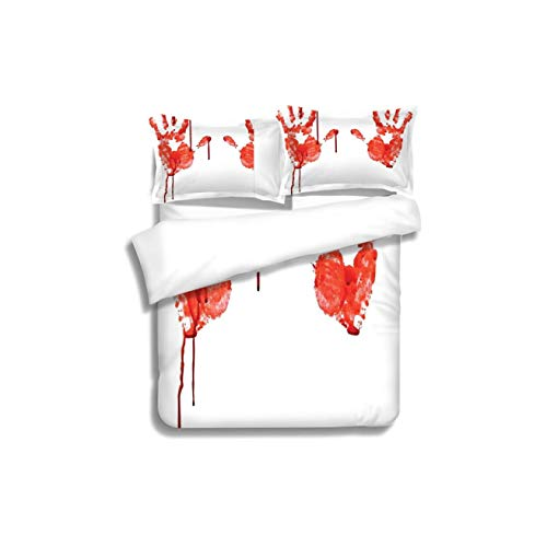 Family bed Horror Handprint like Wanting Help Halloween Horror Scary Spooky Flowing Blood Themed Print Red 3 Piece Bedding Set with Pillow Shams, Queen/Full, Dark Orange White Teal Coral