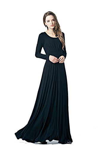 (Charm Your Prince Women's Round Scoop Neck Long Sleeve Maxi Dress Black)