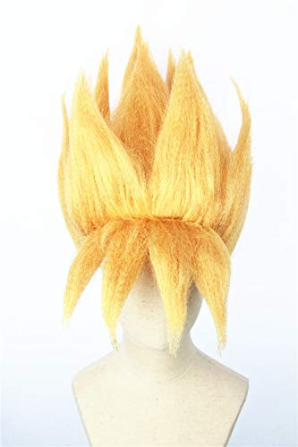 Cosplaywigscom: Goku Gohan Wig Inspired by Dragon Ball Saiyans Short Gold Spiky Prestyled Halloween Cosplay Wigs]()