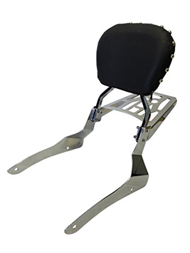 Studded Contoured - Sissy Bar Backrest & Luggage Rack for 2001-2004 Suzuki Volusia 800 / 2005-up Suzuki Boulevard C50 / 2005-2009 Suzuki Boulevard M50