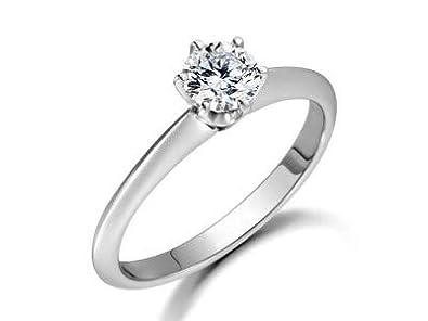 eebc518759f Forever Diamond, anillo solitario de diamante de corte redondo de 0,50  quilates, regalo para el día de San Valentín, para esposa, oro blanco de 14  K y 18 ...