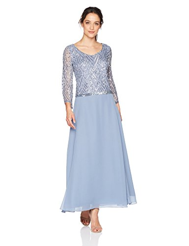 J Kara Women's Petite Scoop Neck 3/4 Sleeve Beaded Dress, Dusty Blue/Silver, 10P