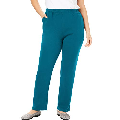 (Woman Within Women's Plus Size Petite 7-Day Knit Straight Leg Pant - Deep Teal, 1X)