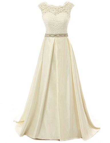 JAEDEN Vintage Wedding Dress For Bride Lace Simple Backless Bridal Gown Cap Sleeve Champagne US12B by JAEDEN