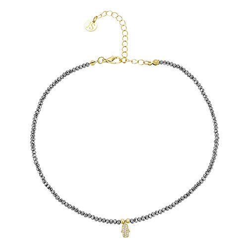 (Jules Smith Onyx or Hematite Stone Choker Necklace for Women - Delicate Faceted Stone Choker - Dainty Sexy Onyx or Hematite Choker Necklace with CZ Crystal Hamsa Hand Charm + 14K Gold Plated Clasp)