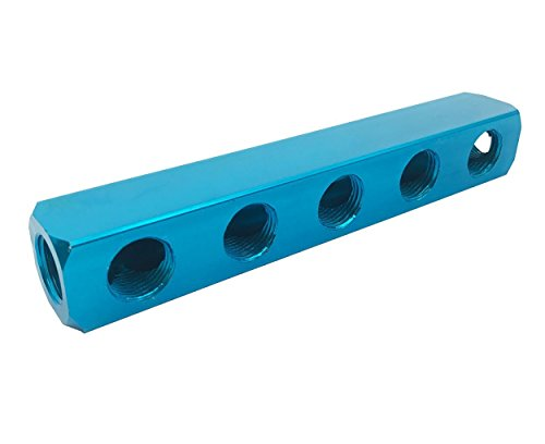 "1/2"" PT Threaded Ports Aluminum Quick Connect 5 Way Air Manifold Block Splitter Blue XMHF"