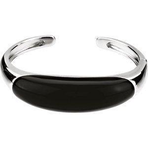 Bracelet à Charnière Onyx véritable Argent Sterling 92556x 16mm