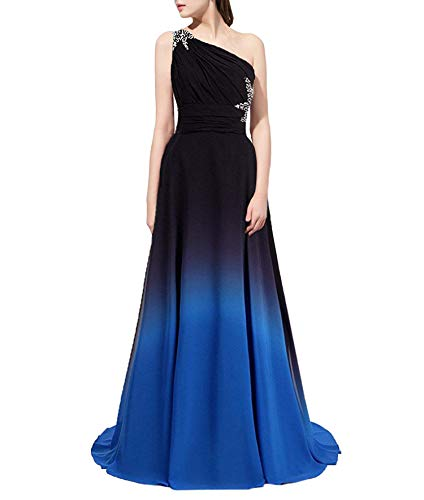 Ladies Long Ball Gown Formal Evening Dress Prom Dress Gradient Color,20,424-royalBlue ()