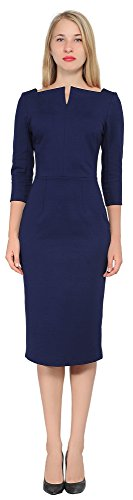 Marycrafts Women's Work Office Business Square Neck Sheath Midi Dress 22 Midnight Blue