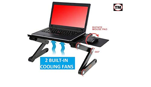 Desk York Cozy Laptop Stand - Best GIFT For Friend-Men-Women-Student - Recliner/Sofa&Bed Lap Tray - Aluminum Light Table For Computer -2 Built in Cooling Fans - Mouse Pad and Usb Cord -Up To 17