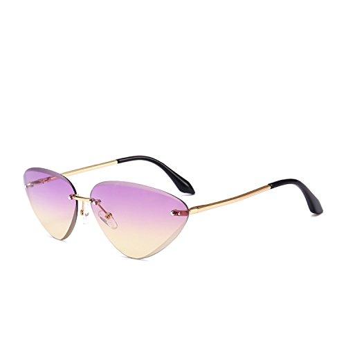 Crue Sunglasses - cat eyes narrow sunglasses female mirror trend crystal cutting sunglasses,Purple Purple on C2
