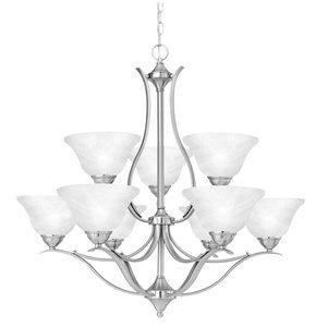 Thomas Lighting Sl8639-78 Prestige Nine-Light Two-Tiered Chandelier, Brushed Nickel ()