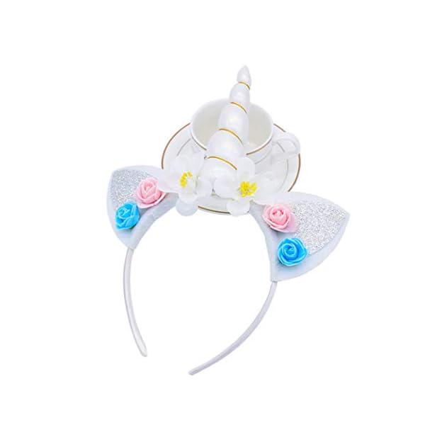 5PC Glitter Unicorn Horn Headband, Flower Ears Unicorn Headbands for Girls, Birthday Party Supplies, Favors and… 6